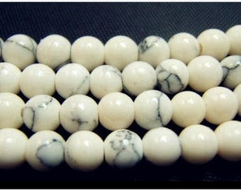 Set of 4 bead natural - white marble gray color - 4mm round-