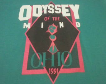 "1991 Screen Stars VINTAGE 50-50 shirt ""Odyssey of the Mind, Ohio"" RARE 1990s tee"