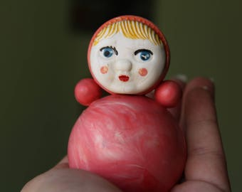Soviet  Roly Poly. roly-poly toy. Nevalyashka. Vintage Celluloid. Tilting doll USSR. tilting doll. Soviet toy