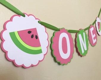 Watermelon One Banner, Watermelon Banner, Watermelon Birthday Decor