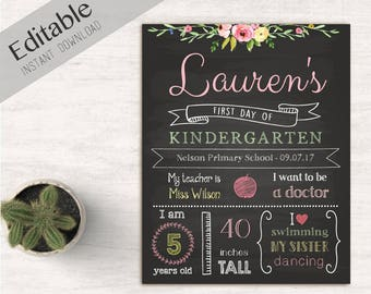 First Day of School Sign Editable, First day of school chalkboard, DIY, Chalkboard Sign, Kindergarten, grade, Flower sign, INSTANT DOWNLOAD
