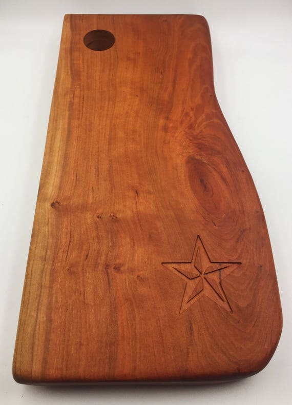 Live Edge Cherry Cutting Board with Nautical Star Carving
