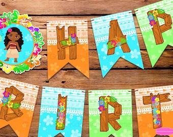 MOANA BIRTHDAY Banner - MOANA Banner Happy Birthday - Moana Party - Moana Printables - Moana Birthday Sign - Moana Birthday Decoration