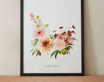 Pink Softpink Dahlia Daisy Rose Watercolor Painting, Peony Flowers, Printable Art, Original art, Floral Wall Art, Instant Download