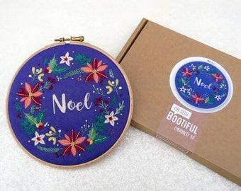 Christmas Embroidery Kit, Xmas Wreath Hoop Art Kit, Winter Flowers Needlework Kit, Christmas Floral Needle, DIY Christmas Gift, Craft Kits