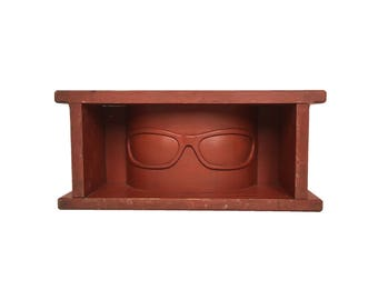 """Handmade and Carved Wooden """"Goggle"""" Wall Shelf"""