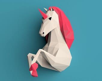 Unicorn Papercraft,3d Papercraft,  Wall Unicorn, DIY, PDF Unicorn template, Instant Download, For Party, Paper Decoration, DIY Template Diy