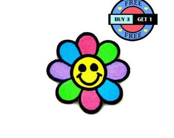Colorful Smile Smiley Face Flower Embroidered Iron On Patch Heat Seal Applique Sew On Patches