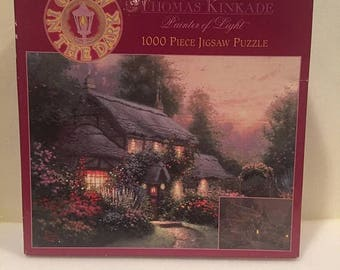 Sale Sale Sale Thomas Kinkade Painter of Light Julianne's Cottage 1000 Piece Jigsaw Puzzle Glow in the Dark.New,Sealed.Free Shipping
