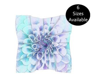 Pastel Printed Scarf, Lightweight Chiffon, Large or Small Square, Long Womens Head Scarf, Womens Fall Summer Fashion Accessory, Gift for Her