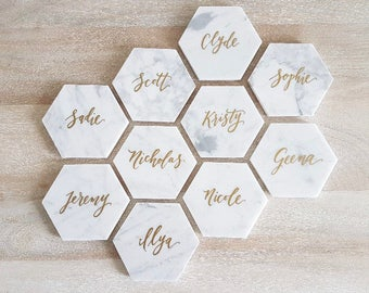 Marble Hexagon Tile Place Cards // Table Numbers // Escort Cards