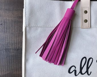 BRIGHT PINK Leather tassel- bag accessories- key chain- luggage tag- bag bling