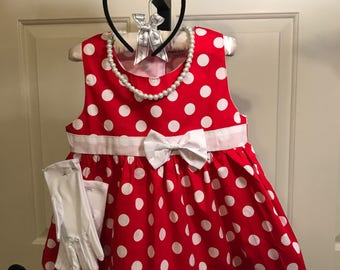 Minnie Mouse Red & White Polka Dot Dress/Costume for Babies and Toddler Girls