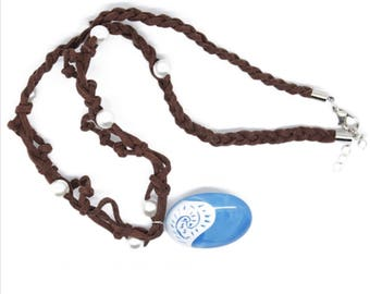 Moana Inspired Rope and Pearl Necklace with Blue Ocean Pendant .