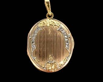 French Art Nouveau rose cut diamonds Locket, 18kt gold and platinum, circa 1905