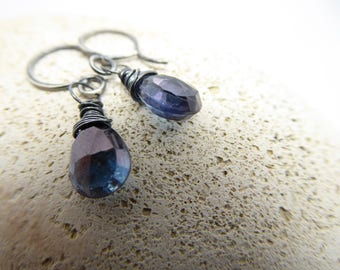 Mystic Quartz Blue Earrings, Small Dangle Earrings Wire Wrapped Oxidised Silver, Perfect Gift