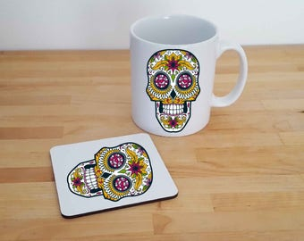 Sugar Skull, Mug and Coaster Gift Set Can be Personalised. Day of The Dead, Skulls