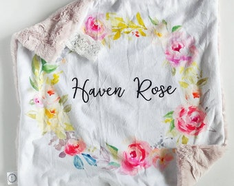 Personalized Watercolor Floral Wreath Lovey, Minky Lovey, Faux Fur Lovey, Floral Lovey, Blush Lovey, Girl Lovey, Personalized Lovey