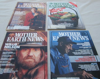 Mother Earth News, 1987 magazines, Willie Nelson article,  family farming, organic gardening, recycling, Do it Yourself ideas. survivalist