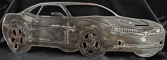 2011 Chevy Camaro, Metal Chevy Car, Heart Beat of America, Luxury Car, Sports Car, Home Decor, Office Decor, Man Cave Decor, Automotive Art