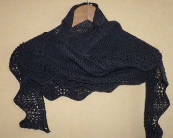 narrow shawl in charcoal gray Merino BB