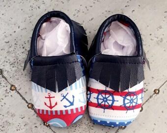 Nautical Baby Fringe Moccasins