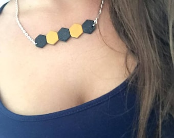 Zapa mustard yellow black silver 28cm leather necklace