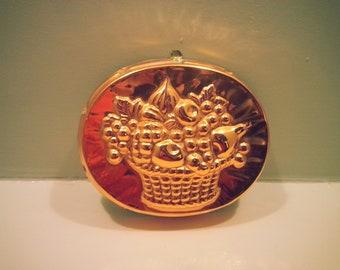 Vintage Swedish Fruit Basket Design Copper Mould - with little hook for hanging