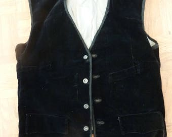Vintage 30s Black Velvet Waistcoat Thirties Pre War Downton 1930s Homemade 1930s Antique