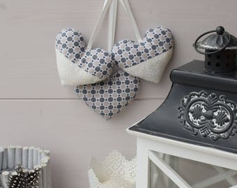 Three hearts door cushion - set of three hearts - heart fabric printed graphic - decorative heart - hanging - fabric heart