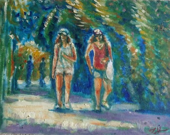"Original Oil Painting, Summer Street Walk Way of Vancouver, 9""x12"" , 171016"