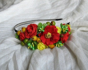 Red floral crown Flower headband Hair Vine Bridal headband Flower crown Flower wreath Hair band Headwear Festival Garland Wedding circlet