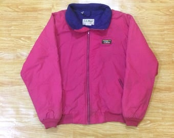 Vintage LL Bean Freeport Maine Warm-Up Fleece Lined Bomber Jacket Made In Usa