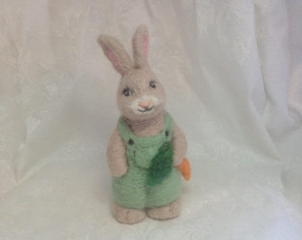 """Farmer Bunny Rabbit 6"""", 100% Wool By Elsa Jo Ellison, Ready for Spring and Easter"""