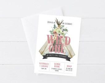 Girls Wild One Invitation | Wild One Birthday | Wild One Party | Indian | Tribal Birthday | Teepee | Printable Invitation