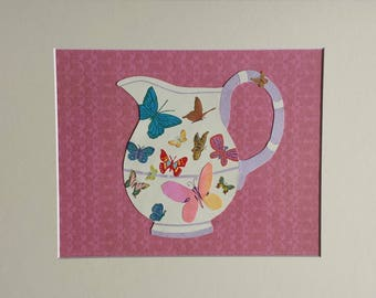 Original paper collage matted for hanging – Pitchers & Bowls Series #45 - Butterfly Pitcher
