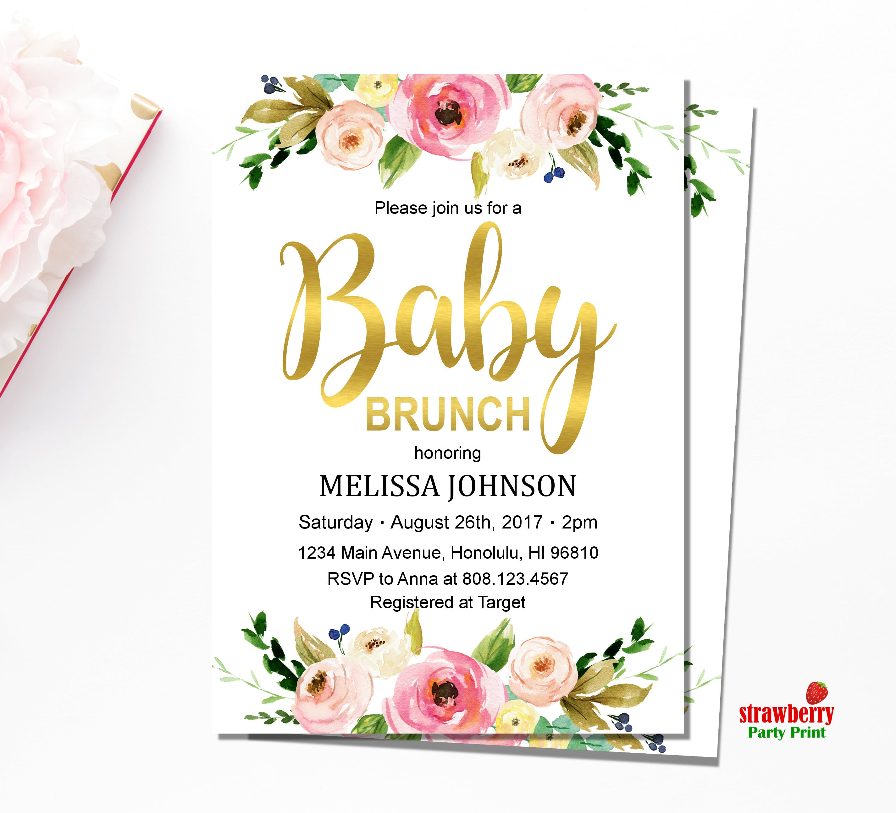 Baby Brunch Invitation. Floral Baby Shower Invitation. Brunch for ...