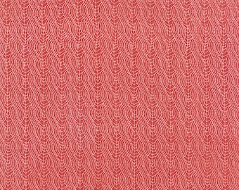 FAT QUARTER - Winterberry by Kate and Birdie for Moda Fabrics, Pattern #13145-16 Cable Knit on Berry, Creamy White Twisted Stripes on Red