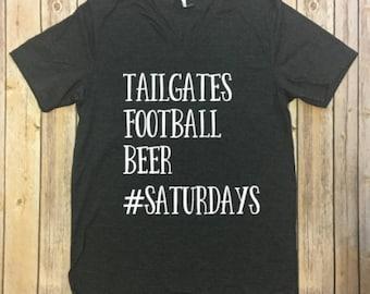 Tailgates, Football, Beer, Saturdays V-neck Tee