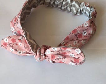 Elastic tie headband pink and gray