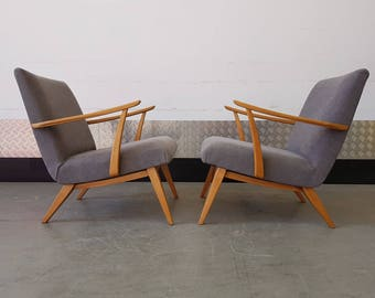 1 Left ONLY Dansih Mid Century Armchairs Upholstered Vintage