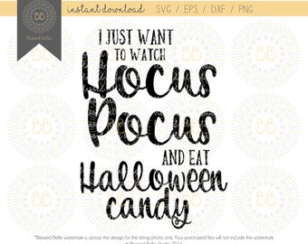 I just want to watch Hocus Pocus SVG, Halloween SVG, eps, dxf, png cutting file, Silhouette, Cricut