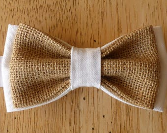Navy blue fabric and burlap bow