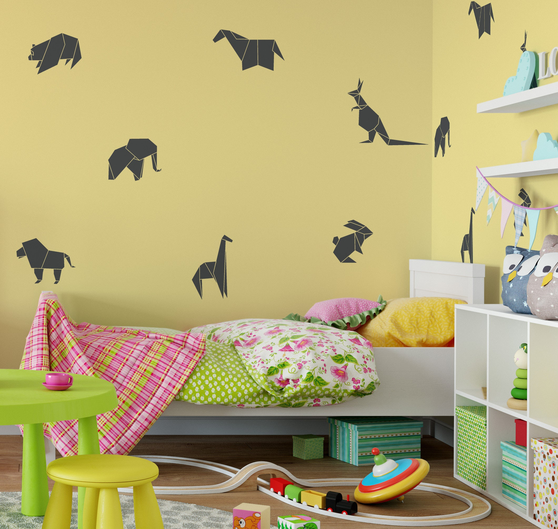 Origami Animal Wall Decal - Paper Animal Art, Paper Animal Decal ...