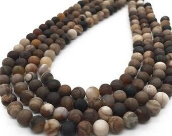 8mm Matte Petrified Wood Jasper Beads,Natural Gemstone Beads,Wholesale Beads