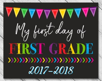 First Day of First Grade, School Sign, Printable First Day, Back To School Sign, First Day of School Chalkboard Sign, First Grade Sign