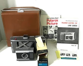Vintage Camera MINT Vintage Polaroid Land Camera In Leather Case Instruction Books Model J66 Vintage Polaroid Camera Electric Eye