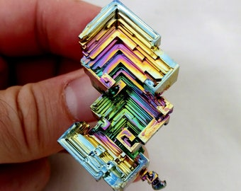 Rainbow Bismuth Crystal 34g Lab Grown Jewelry Display Specimen Educational Metaphysical Metal Healing Stone