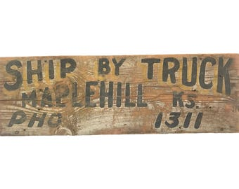 Original Wooden Trade Sign - 1930's Ship by Truck