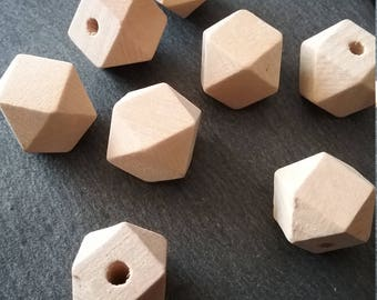 10 Natural Hinoki Wood Spacer Beads Square Faceted 14mm